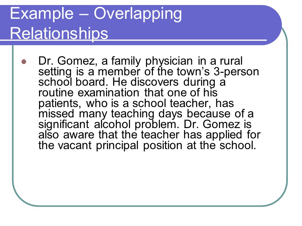 Example – Overlapping Relationships Dr.