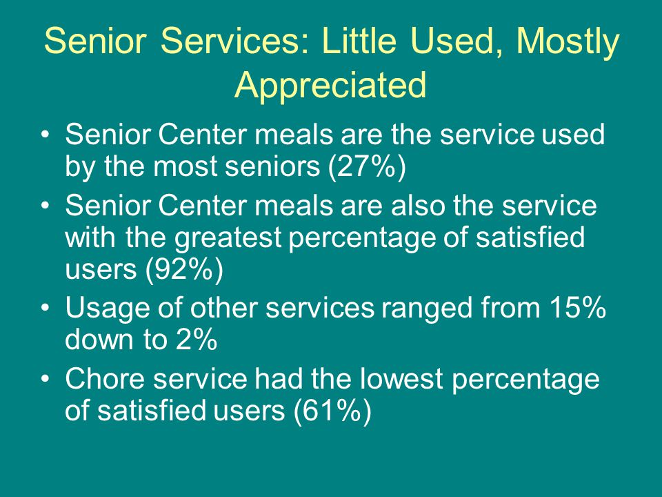 Senior Services: Little Used, Mostly Appreciated Senior Center meals are the service used by the most seniors (27%) Senior Center meals are also the service with the greatest percentage of satisfied users (92%) Usage of other services ranged from 15% down to 2% Chore service had the lowest percentage of satisfied users (61%)