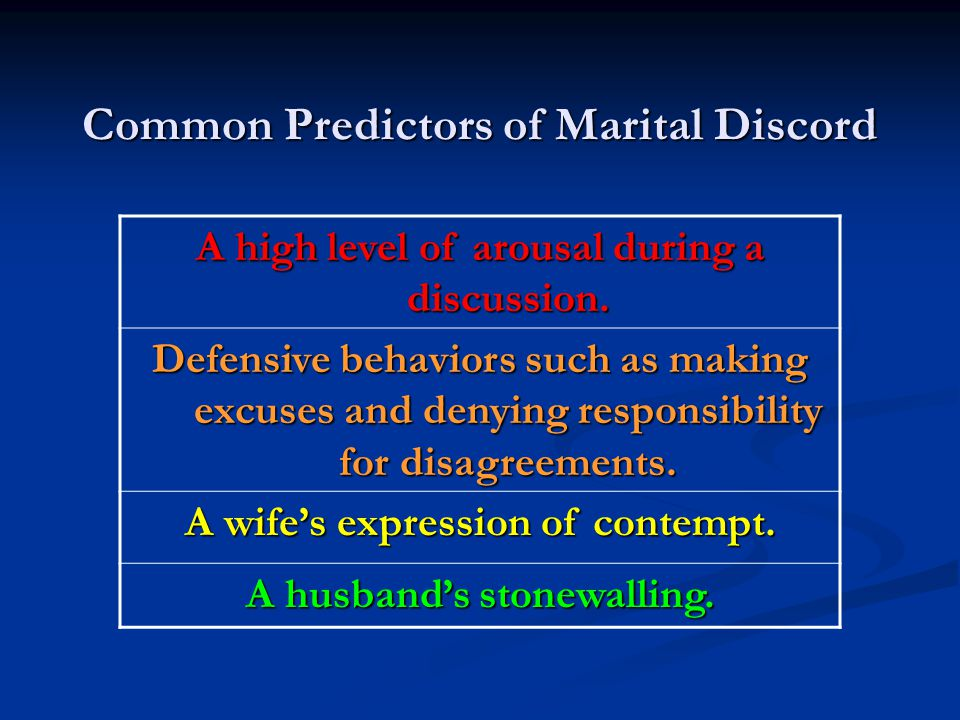 Common Predictors of Marital Discord A high level of arousal during a discussion. Defensive behaviors such as making excuses and denying responsibilit