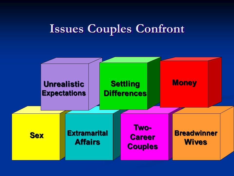 Issues Couples Confront Sex ExtramaritalAffairs Two-CareerCouples BreadwinnerWives Money UnrealisticExpectations SettlingDifferences