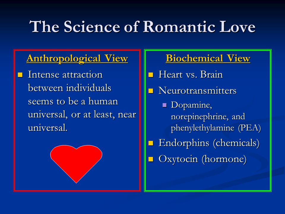The Science of Romantic Love Anthropological View Intense attraction between individuals seems to be a human universal, or at least, near universal. I