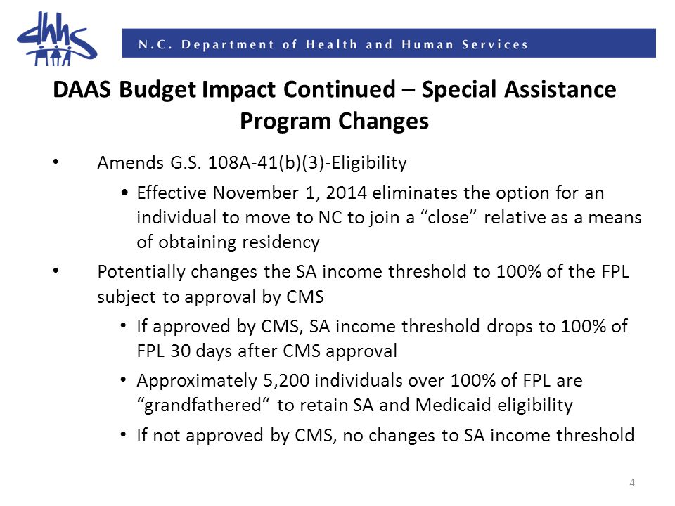 5 DAAS Budget Impact Continued – Special Assistance Program Changes Requires DHHS to submit a Medicaid State Plan Amendment to CMS to delink SA from automatic eligibility for Medicaid if the Medicaid Contingency Reserve is depleted