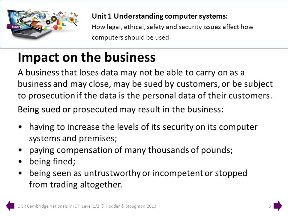 Unit 1 Understanding computer systems: How legal, ethical, safety and security issues affect how computers should be used OCR Cambridge Nationals in ICT Level 1/2 © Hodder & Stoughton 20135 A business that loses data may not be able to carry on as a business and may close, may be sued by customers, or be subject to prosecution if the data is the personal data of their customers.