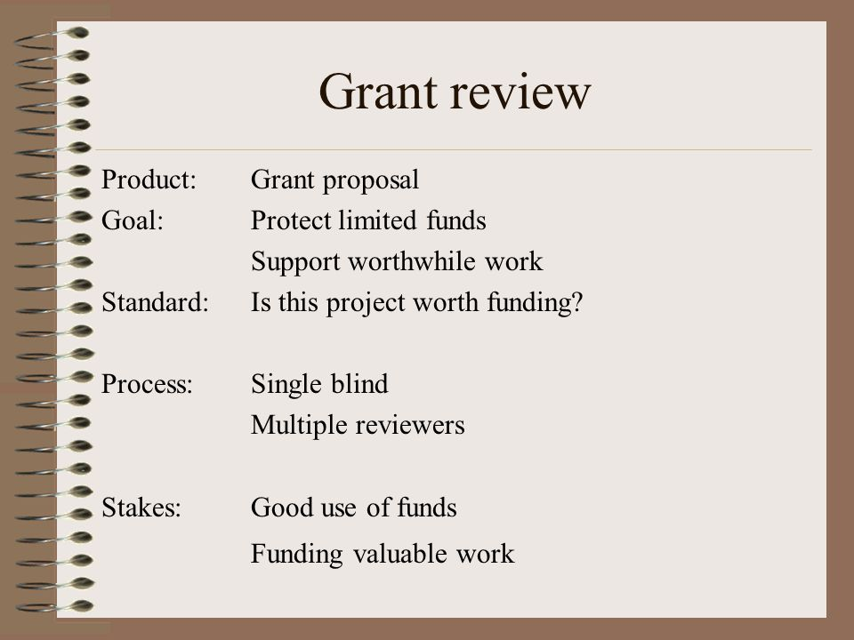 Product: Goal: Standard: Process: Stakes: Grant proposal Protect limited funds Support worthwhile work Is this project worth funding.
