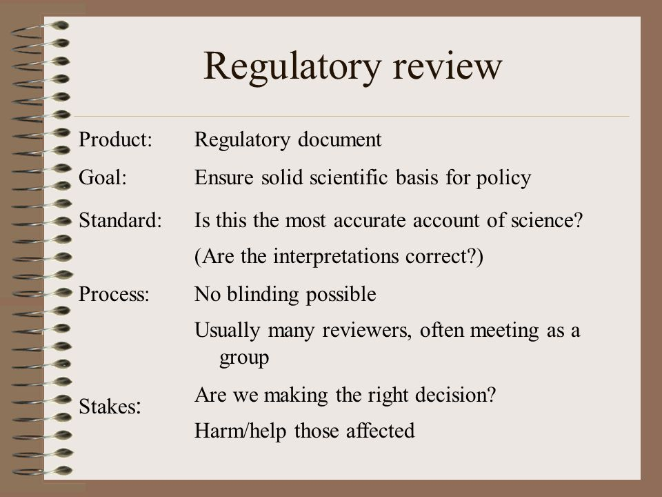 Product: Goal: Standard: Process: Stakes : Regulatory document Ensure solid scientific basis for policy Is this the most accurate account of science.