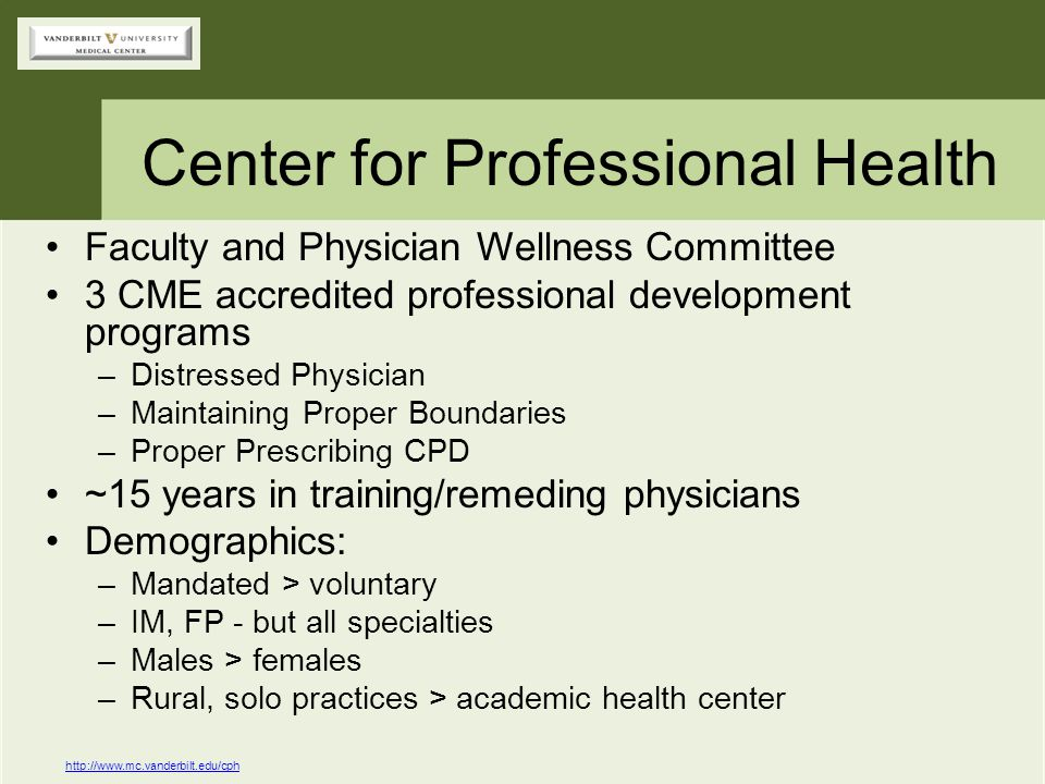 Center for Professional Health Faculty and Physician Wellness Committee 3 CME accredited professional development programs –Distressed Physician –Main