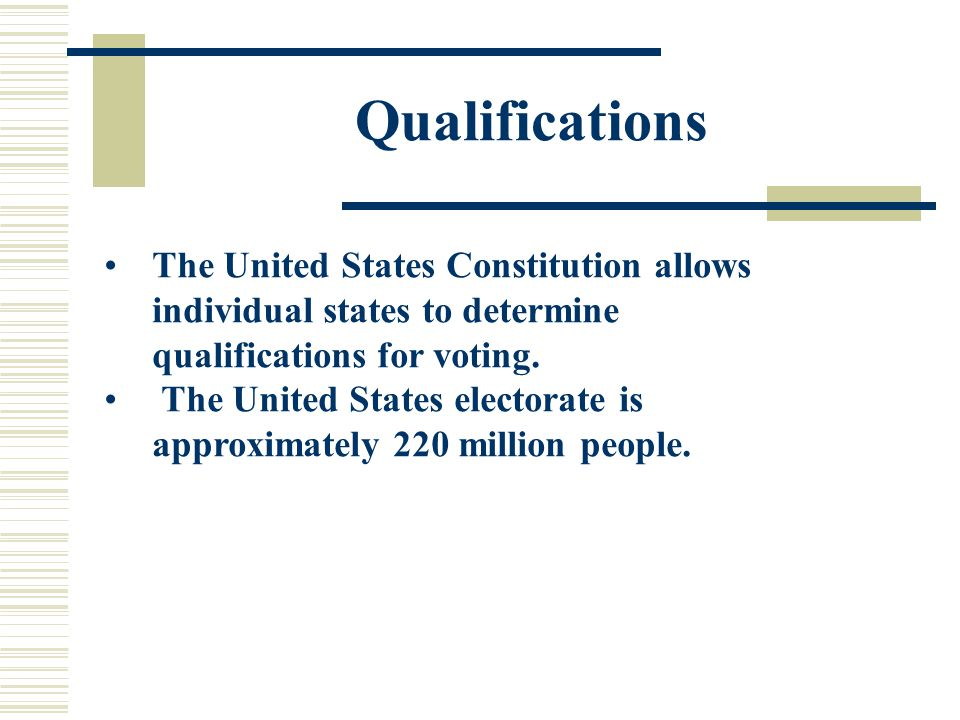Qualifications Every state has the following qualifications: 1.Citizenship: nothing in the U.S.