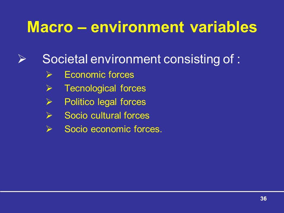 36 Macro – environment variables  Societal environment consisting of :  Economic forces  Tecnological forces  Politico legal forces  Socio cultural forces  Socio economic forces.