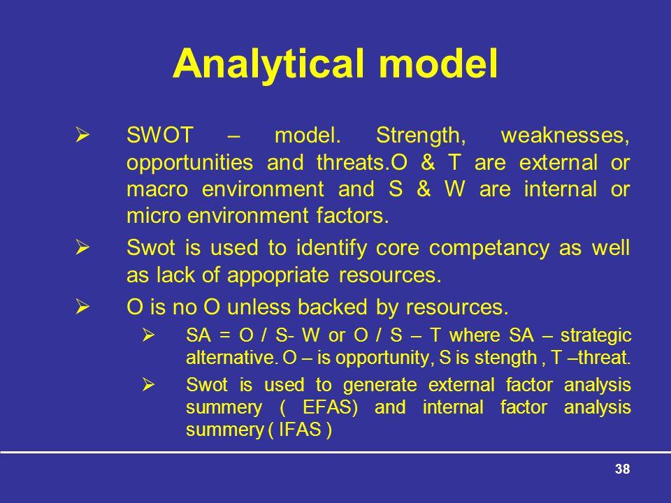 38 Analytical model  SWOT – model.