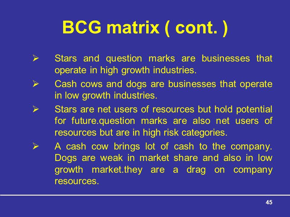 45 BCG matrix ( cont.