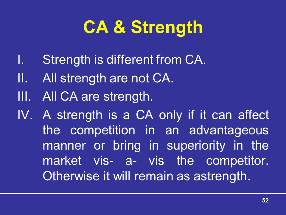 52 CA & Strength I.Strength is different from CA.II.All strength are not CA.