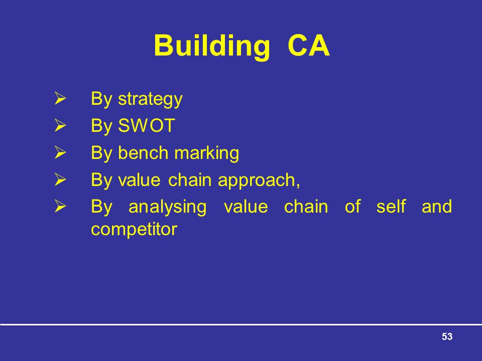 53 Building CA  By strategy  By SWOT  By bench marking  By value chain approach,  By analysing value chain of self and competitor