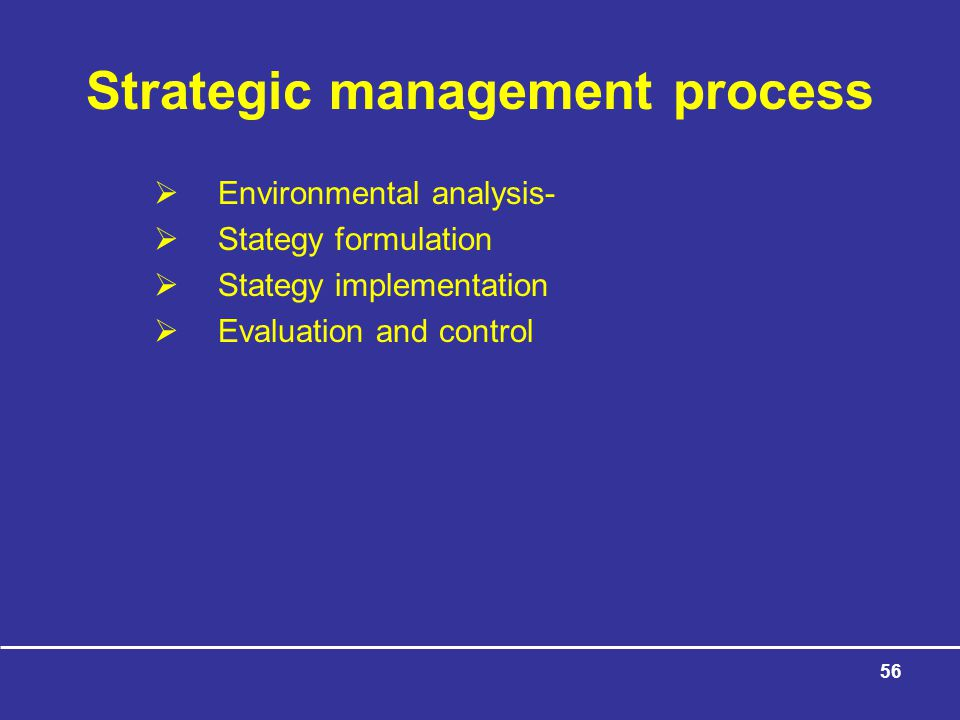 56 Strategic management process  Environmental analysis-  Stategy formulation  Stategy implementation  Evaluation and control