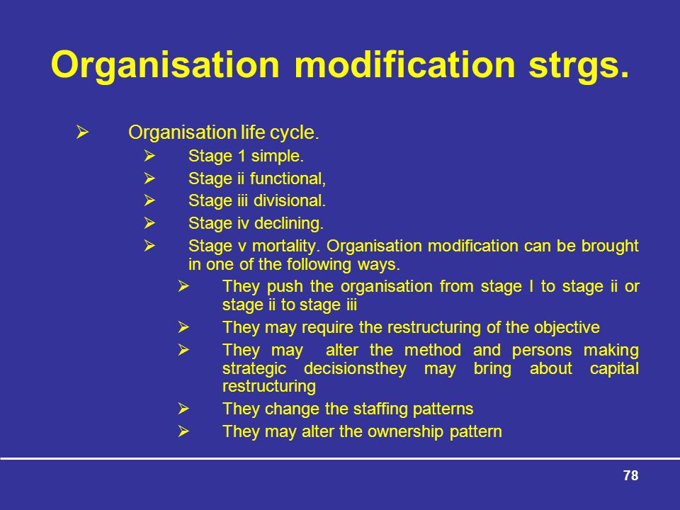 78 Organisation modification strgs. Organisation life cycle.
