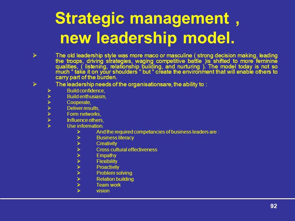 92 Strategic management, new leadership model.