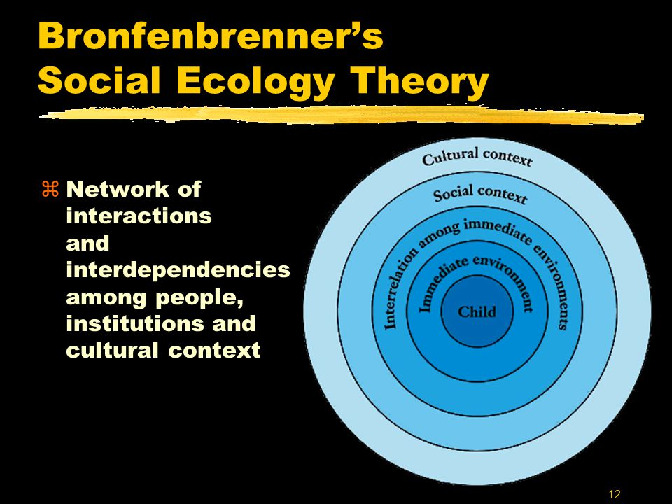 12 Bronfenbrenner's Social Ecology Theory zNetwork of interactions and interdependencies among people, institutions and cultural context