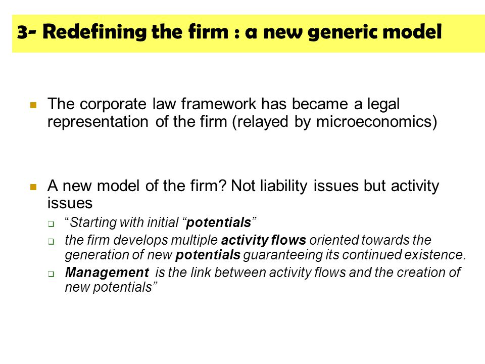 3- Redefining the firm : a new generic model The corporate law framework has became a legal representation of the firm (relayed by microeconomics) A new model of the firm.