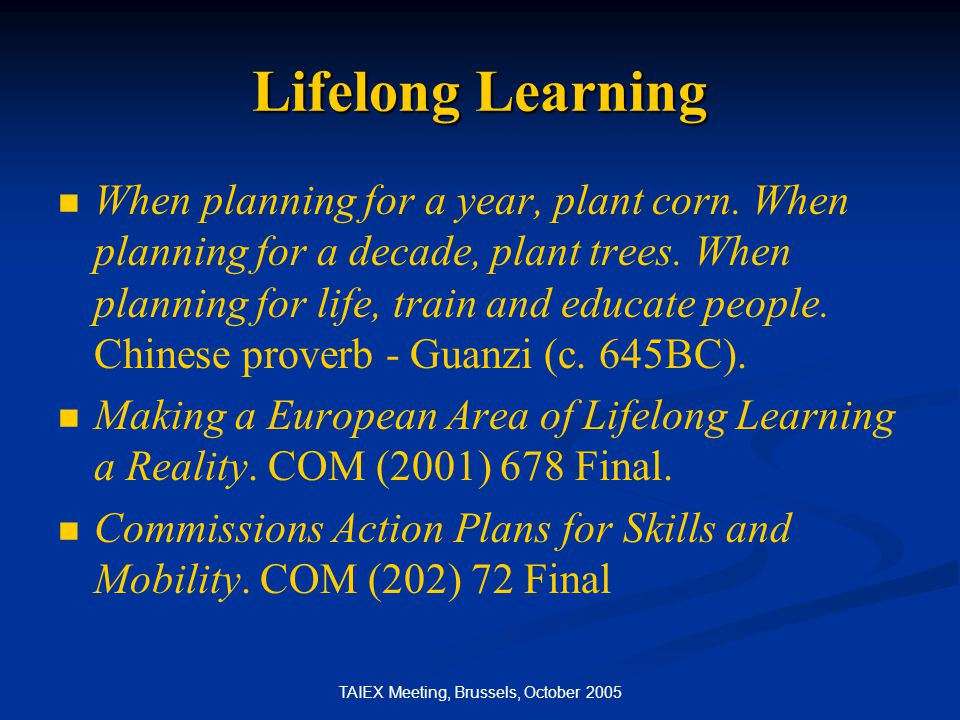 TAIEX Meeting, Brussels, October 2005 Lifelong Learning When planning for a year, plant corn.