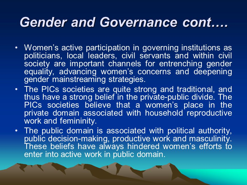 Gender and Governance cont….