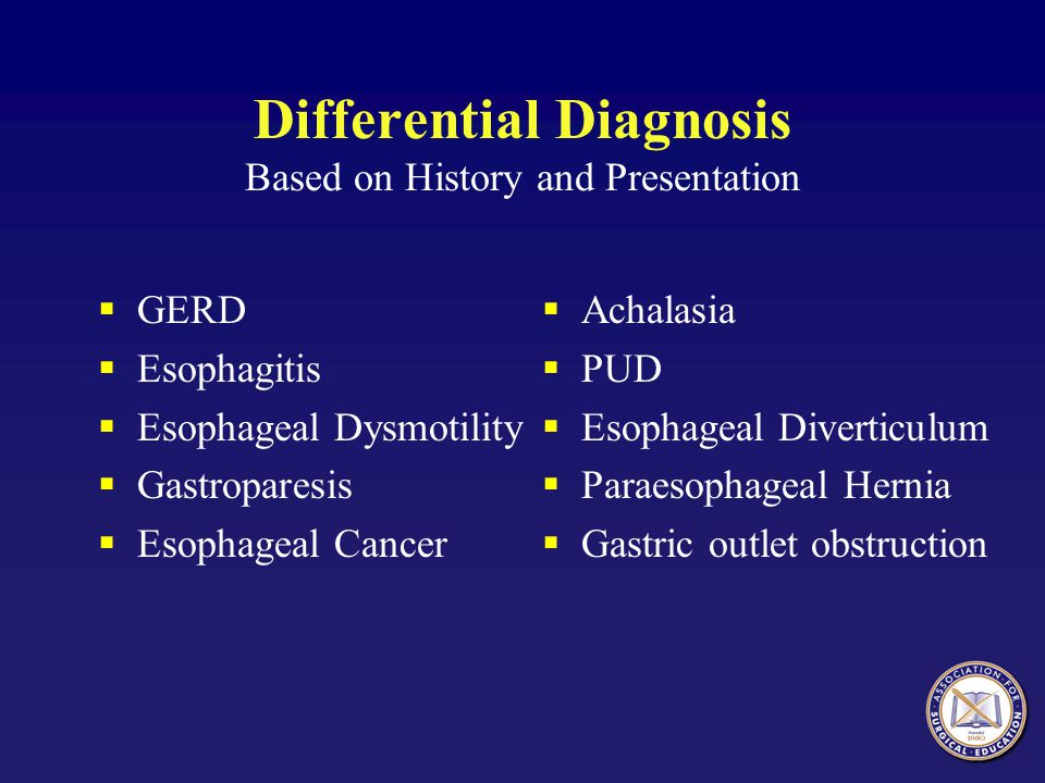 Differential Diagnosis Based on History and Presentation  GERD  Esophagitis  Esophageal Dysmotility  Gastroparesis  Esophageal Cancer  Achalasia