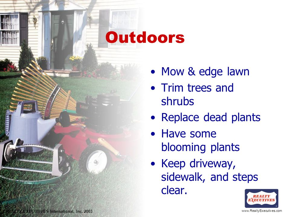 www.RealtyExecutives.com Outdoors Mow & edge lawn Trim trees and shrubs Replace dead plants Have some blooming plants Keep driveway, sidewalk, and steps clear.