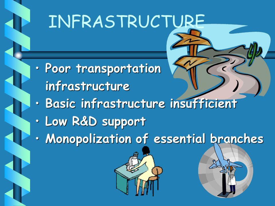 INFRASTRUCTURE Poor transportationPoor transportationinfrastructure Basic infrastructure insufficientBasic infrastructure insufficient Low R&D support