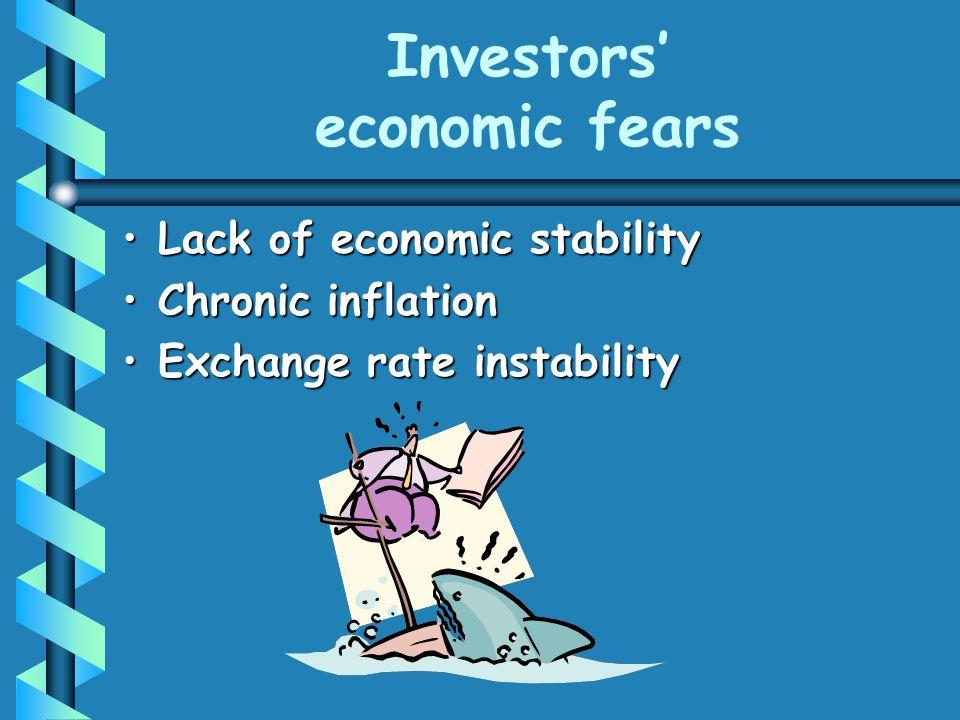 Investors' economic fears Lack of economic stabilityLack of economic stability Chronic inflationChronic inflation Exchange rate instabilityExchange ra