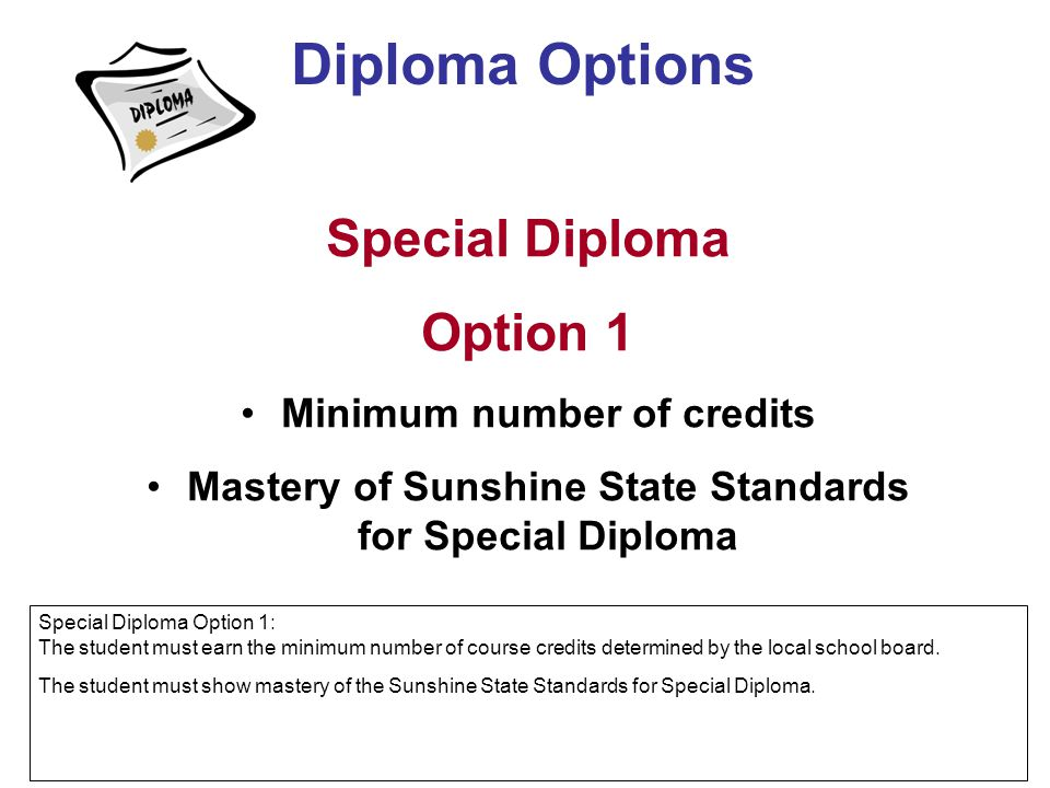 Special Diploma Option 1 Minimum number of credits Mastery of Sunshine State Standards for Special Diploma Diploma Options Special Diploma Option 1: T