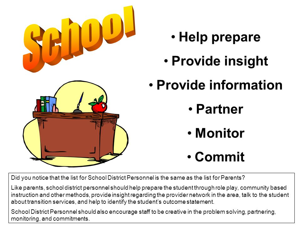Help prepare Provide insight Provide information Partner Monitor Commit Did you notice that the list for School District Personnel is the same as the