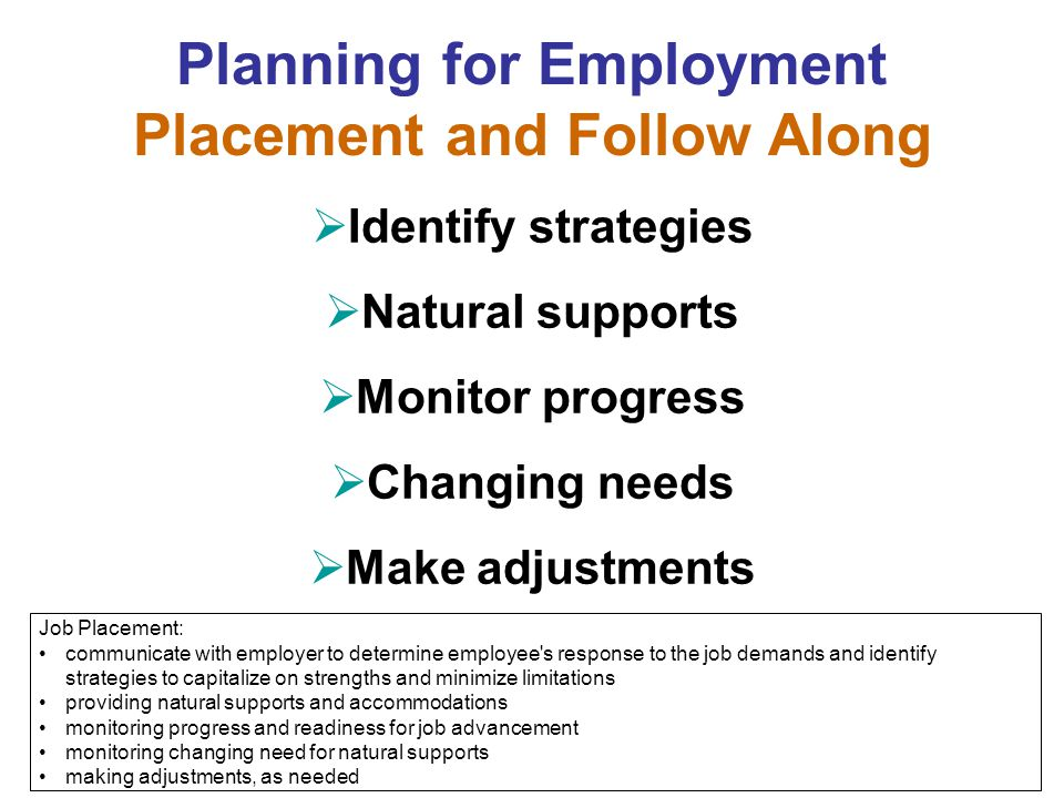 Planning for Employment Placement and Follow Along  Identify strategies  Natural supports  Monitor progress  Changing needs  Make adjustments Job