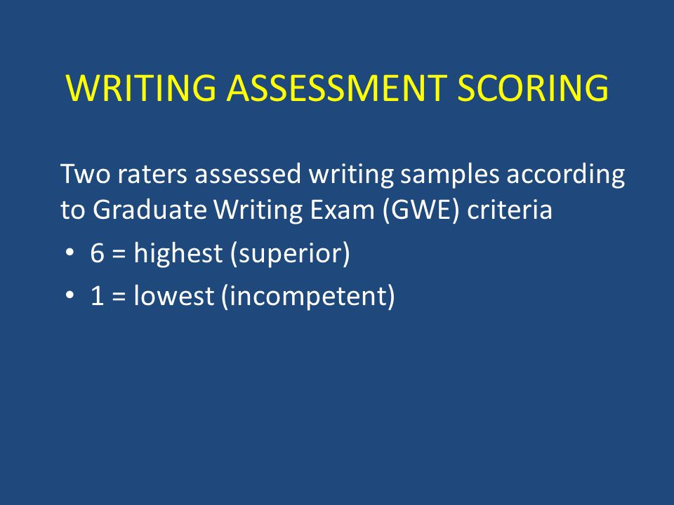 WRITING ASSESSMENT SCORING Two raters assessed writing samples according to Graduate Writing Exam (GWE) criteria 6 = highest (superior) 1 = lowest (incompetent)