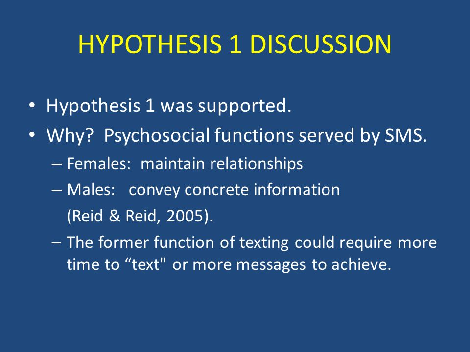 HYPOTHESIS 1 DISCUSSION Hypothesis 1 was supported.