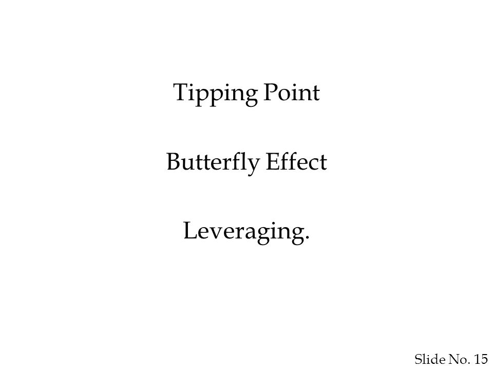 Slide No. 15 Tipping Point Butterfly Effect Leveraging.