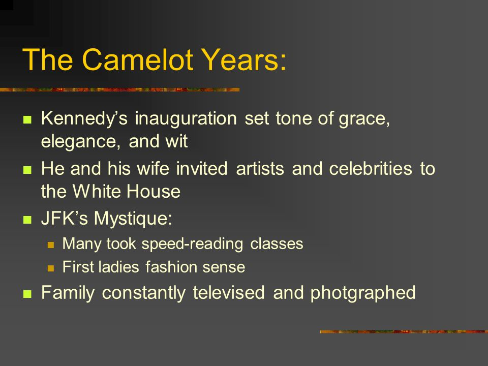 The Camelot Years: Kennedy's inauguration set tone of grace, elegance, and wit He and his wife invited artists and celebrities to the White House JFK'
