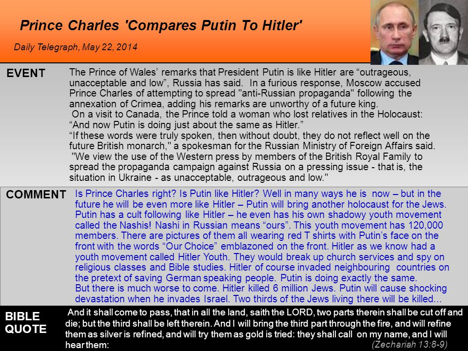 The Prince of Wales' remarks that President Putin is like Hitler are outrageous, unacceptable and low , Russia has said.