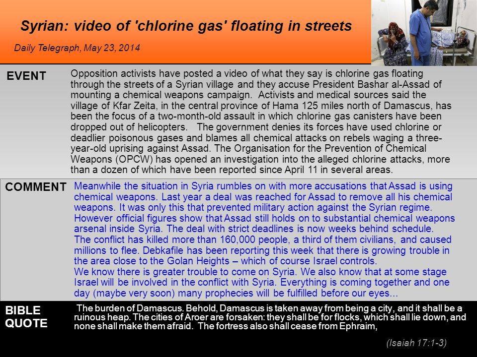 Syrian: video of chlorine gas floating in streets Opposition activists have posted a video of what they say is chlorine gas floating through the streets of a Syrian village and they accuse President Bashar al-Assad of mounting a chemical weapons campaign.