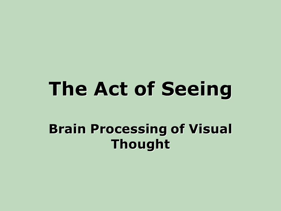 The Act of Seeing Brain Processing of Visual Thought