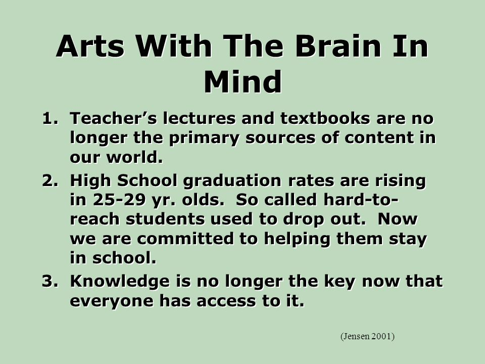 Arts With The Brain In Mind 1.Teacher's lectures and textbooks are no longer the primary sources of content in our world.