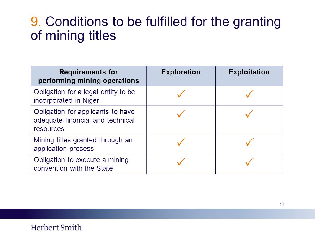 9. Conditions to be fulfilled for the granting of mining titles Requirements for performing mining operations ExplorationExploitation Obligation for a