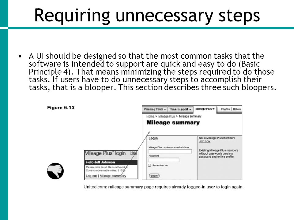 Requiring unnecessary steps A UI should be designed so that the most common tasks that the software is intended to support are quick and easy to do (Basic Principle 4).