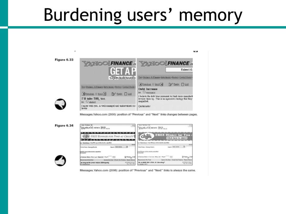 Burdening users' memory