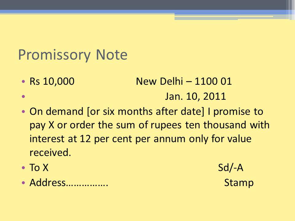 Promissory Note Rs 10,000New Delhi – 1100 01 Jan.