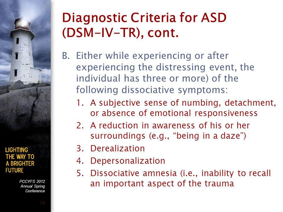 PCCYFS 2012 Annual Spring Conference 13 Diagnostic Criteria for ASD (DSM-IV-TR), cont.