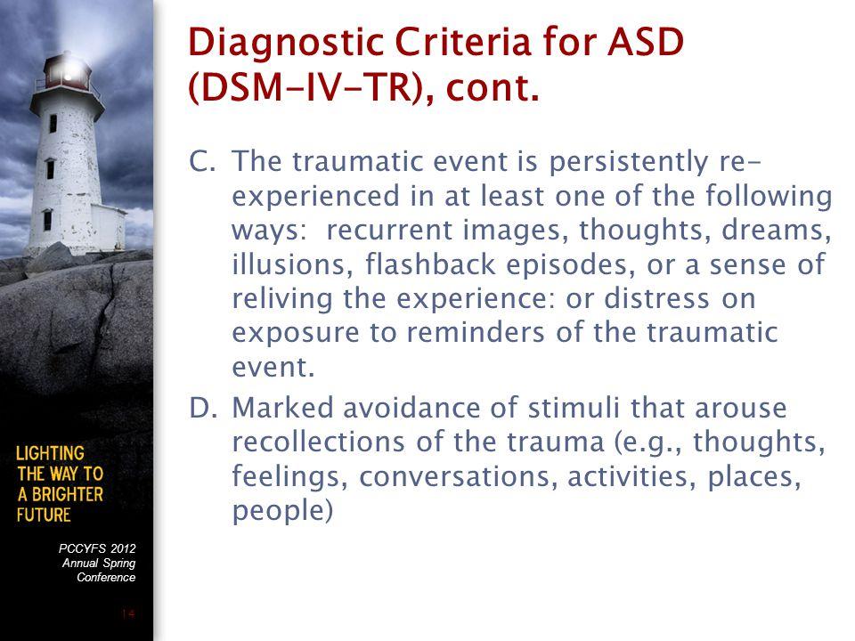 PCCYFS 2012 Annual Spring Conference 14 Diagnostic Criteria for ASD (DSM-IV-TR), cont.