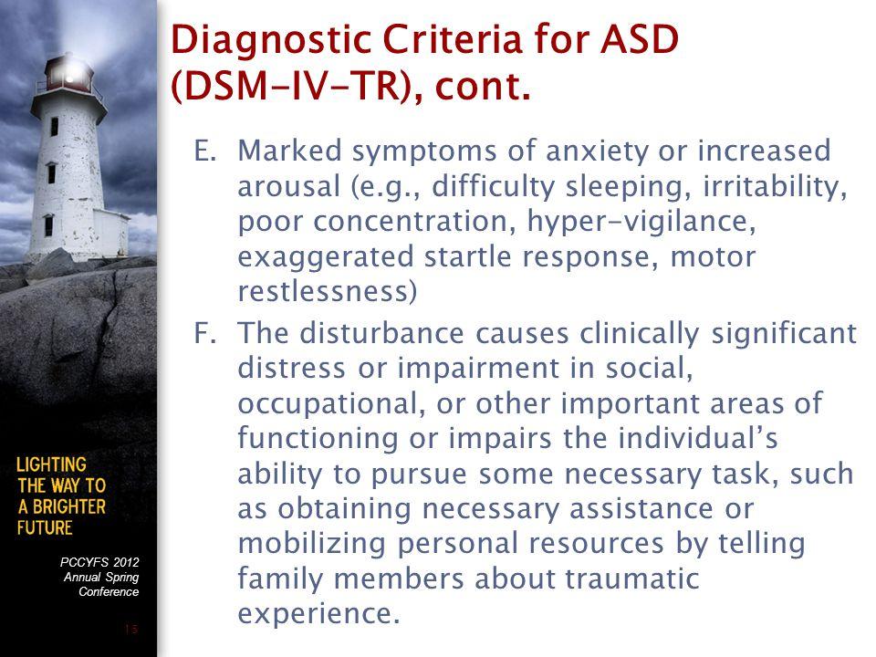 PCCYFS 2012 Annual Spring Conference 15 Diagnostic Criteria for ASD (DSM-IV-TR), cont.