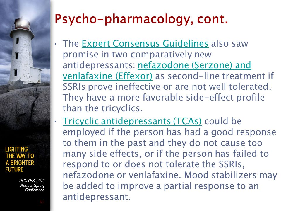 PCCYFS 2012 Annual Spring Conference 51 Psycho-pharmacology, cont.