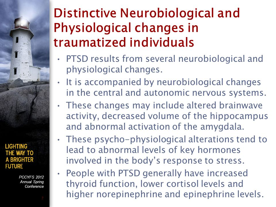 PCCYFS 2012 Annual Spring Conference 7 Distinctive Neurobiological and Physiological changes in traumatized individuals PTSD results from several neurobiological and physiological changes.
