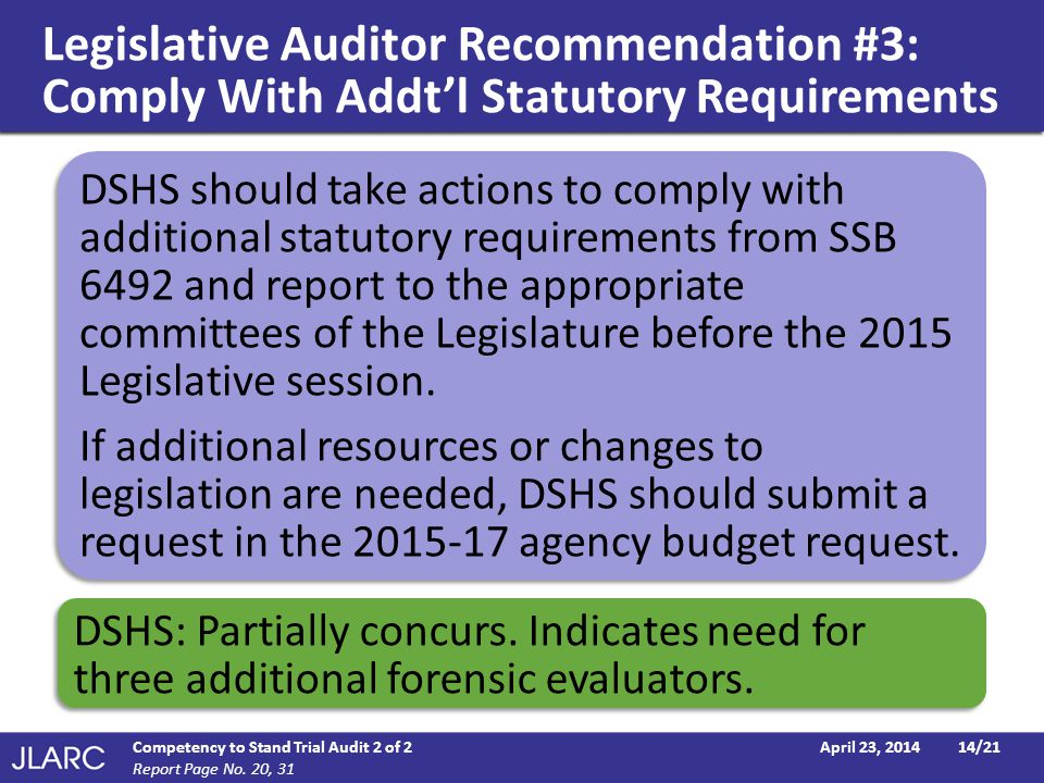 Legislative Auditor Recommendation #3: Comply With Addt'l Statutory Requirements April 23, 2014Competency to Stand Trial Audit 2 of 214/21 Report Page