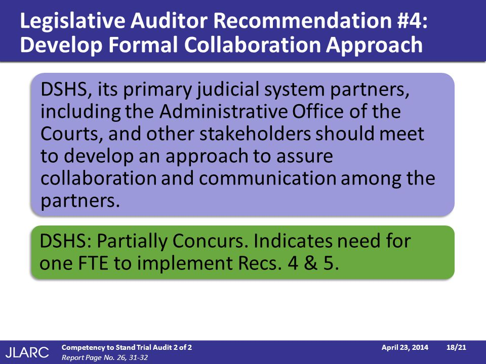 Legislative Auditor Recommendation #4: Develop Formal Collaboration Approach April 23, 2014Competency to Stand Trial Audit 2 of 218/21 Report Page No.