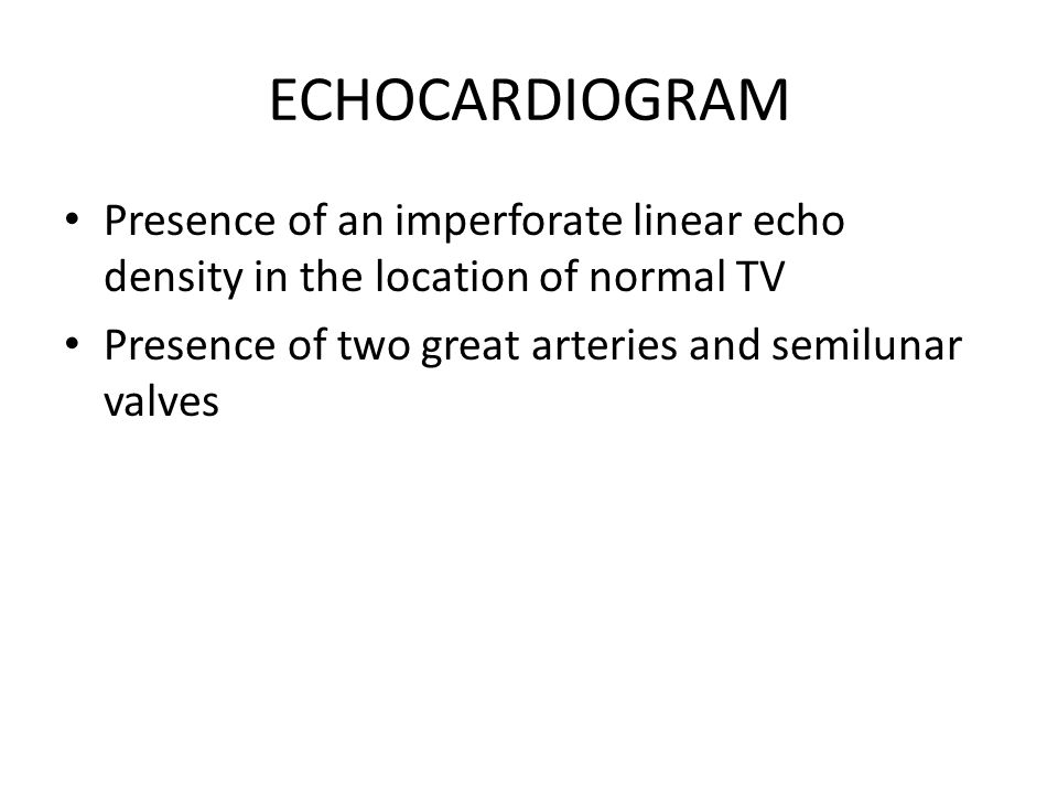 ECHOCARDIOGRAM Presence of an imperforate linear echo density in the location of normal TV Presence of two great arteries and semilunar valves